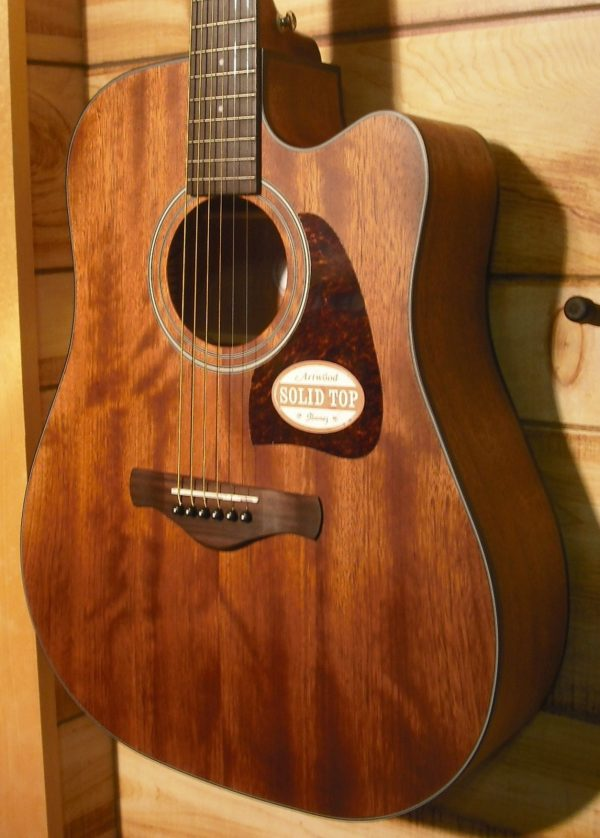 Ibanez AW54CE Open Pore Acoustic Electric Guitar Natural Solid Mahogany Top