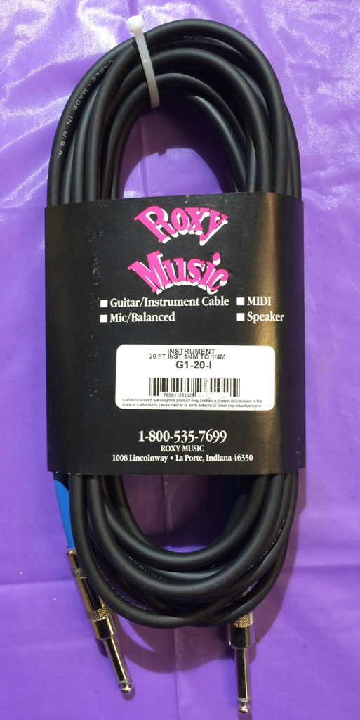 "Roxy Music Horizon 20 Foot 1/4"" to 1/4"" Instrument Cable Black - Lifetime Warranty"