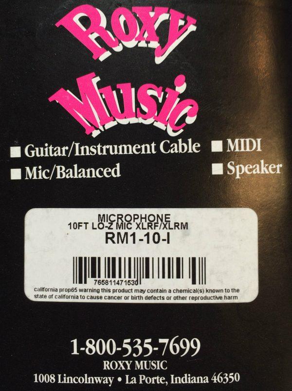 Roxy Music Horizon 10' Microphone XLR to XLR Cable Black - Lifetime Warranty