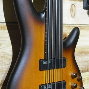 Ibanez SRF705 5-String Fretless Electric Bass Guitar Brown Burst Flat