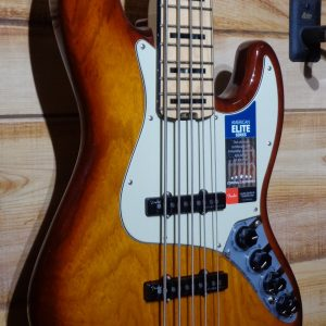 Fender® American Elite Jazz Bass® V Maple Fingerboard Tobacco Burst w/Case
