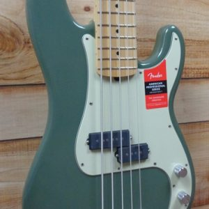 Fender® American Professional Precision Bass® V Maple Fingerboard Antique Olive w/Case
